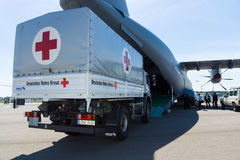 A car with the humanitarian aid of the German Red Cross Stock Photos