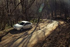 The car Hyundai Solaris Accent is parked in nature. Royalty Free Stock Photos