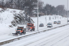 Cars on I-95 in Connecticut after storm 2015 Royalty Free Stock Photo