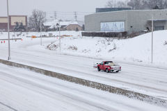Car on I-95 in Connecticut after storm 2015 Royalty Free Stock Images