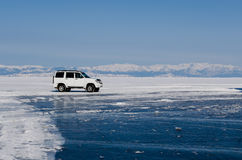 A car on the ice surface Royalty Free Stock Photography