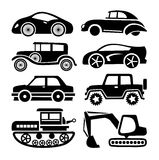 Car icon, black transport vector set Royalty Free Stock Images