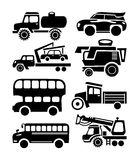 Car icon, black transport vector set Stock Image