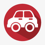 car icon concept eco red button Stock Photos