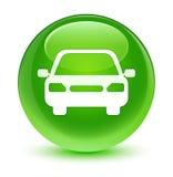 Car icon glassy green round button Stock Image