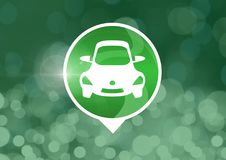 Car icon with green sparkling bokeh background Royalty Free Stock Photography