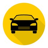 Car icon with long shadow Royalty Free Stock Photo