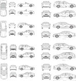 Car Icon Set. Cars icons set. Vector silhouettes of vehicles Royalty Free Stock Photos