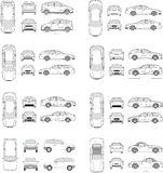 Car Icon Set. Cars icons set. Vector silhouettes of vehicles Stock Image