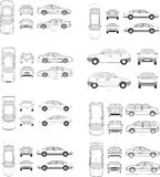 Car Icon Set. Cars icons set. Vector silhouettes of vehicles Stock Photography