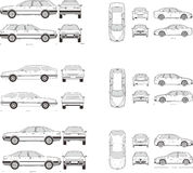 Car Icon Set. Cars icons set. Vector silhouettes of vehicles Royalty Free Stock Photo