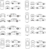 Car Icon Set. Cars icons set. Vector silhouettes of vehicles Stock Images