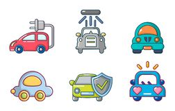 Car icon set, cartoon style. Car icon set. Cartoon set of car vector icons for web design isolated on white background Royalty Free Stock Photo