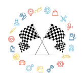 Car Icon Set and Checkered Flags Motor Racing Stock Image