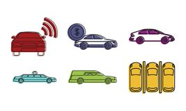 Car icon set, color outline style. Car icon set. Color outline set of car vector icons for web design isolated on white background Stock Images