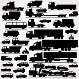 Car Icon Set. Side View Silhouettes Stock Photography