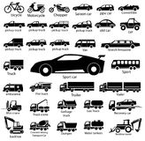 Car icon set. Vector illustration on white background, transportation, bus, van Royalty Free Stock Photo