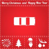 Car Icon Vector. And bonus symbol for New Year - Santa Claus, Christmas Tree, Firework, Balls on deer antlers Stock Photo