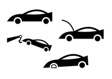 Car icons. The simple car pictures with accidents vector illustration
