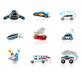 Car icons. Set. Different types of cars including modern, futuristic and ecological cars. This illustration contains transparencies, AI10 EPS Stock Photography