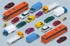 Car icons. Flat 3d isometric high quality city transport car icon set. Car, van, cargo truck,  off-road, bus, scooter. Motorbike, riders. Set of urban public