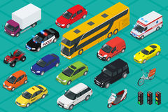 Car icons. Flat 3d isometric high quality city transport. Sedan, van, cargo truck, off-road, bus, scooter, motorbike. Riders, ATV Set of urban public and Royalty Free Stock Images