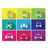Car icons flat line shadow Stock Images