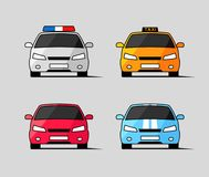 Car icons, front view of police, taxi and sports vehicles Stock Images