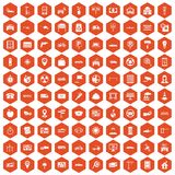 100 car icons hexagon orange Stock Image