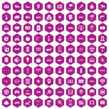 100 car icons hexagon violet. 100 car icons set in violet hexagon isolated vector illustration royalty free illustration