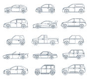 Car Icons in the Linear Style Royalty Free Stock Image