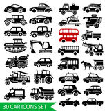 30 car icons set, black auto web pictogram. Collection, symbol traffic design, vector illustration Royalty Free Stock Photo