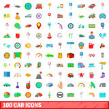 100 car icons set, cartoon style. 100 car icons set in cartoon style for any design vector illustration Stock Illustration