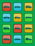 Car icons set on a colored button Royalty Free Stock Photo