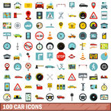 100 car icons set, flat style Royalty Free Stock Photos
