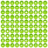 100 car icons set green circle. Isolated on white background vector illustration Stock Photo