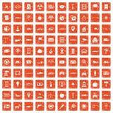 100 car icons set grunge orange. 100 car icons set in grunge style orange color isolated on white background vector illustration vector illustration