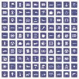 100 car icons set grunge sapphire. 100 car icons set in grunge style sapphire color isolated on white background vector illustration Royalty Free Stock Photos