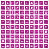 100 car icons set grunge pink. 100 car icons set in grunge style pink color isolated on white background vector illustration Stock Image