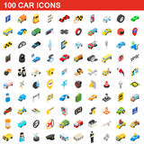 100 car icons set, isometric 3d style. 100 car icons set in isometric 3d style for any design vector illustration Stock Photo