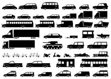 Car icons set. Linear style. Vector illustration. Royalty Free Stock Photography