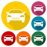 Car icons set with long shadow. Icon Stock Images