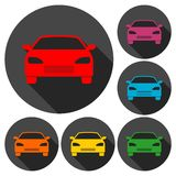 Car icons set with long shadow Stock Image