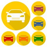 Car icons set with long shadow Royalty Free Stock Images