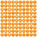 100 car icons set orange. 100 car icons set in orange circle isolated on white vector illustration royalty free illustration