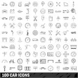 100 car  icons set, outline style Stock Photos