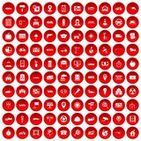 100 car icons set red. 100 car icons set in red circle isolated on white vector illustration Stock Photography