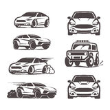 Car icons set sedan suv 4x4 sport Stock Photos