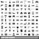 100 car icons set, simple style Stock Images
