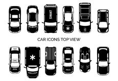 Car icons top view. Auto and transportation, collection automobile, ambulance and police, taxi and swat. Vector illustration Stock Photos